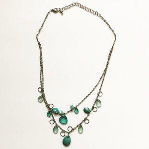 Boho silver & turquoise bead strand necklace